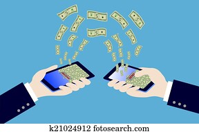 smart phone while transfer money