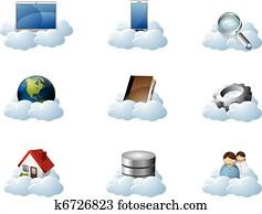 vektor, heiligenbilder, für, wolke, rechnen