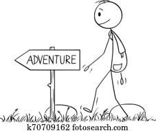 vektor, karikatur, von, mann, oder, wanderer, mit, ranzen, wandern, auf, abenteuer, in, natur