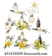 Watercolor vanilla oil collection