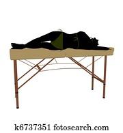 Massage Table Illustration Silhouette