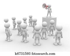 Speaking at megaphone