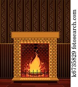 Stone fireplace with flame