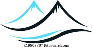 bergwelt, mit, steil, spitzen, logo