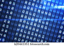 Airport departure board with Brussels caption. Travel in ...