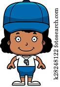 Cartoon Smiling Coach Girl