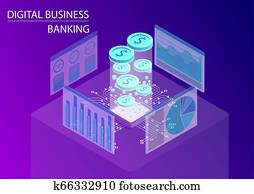 Digital business banking and financial services concept. 3d isometric vector illustration with floating dollar coins and data flow