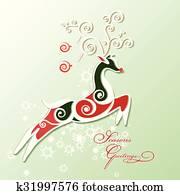 Stilizzato Renna Natale Ornamento Clipart   476 Stilizzato