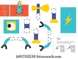 schneiden, und, klebstoff, papier, spielzeug, vektor, illustration., roboter, zeichen, schere, schneiden, modell