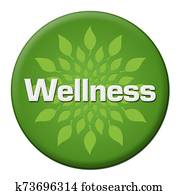 Wellness Green Leaves Circle Badge Style