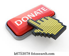 Donate web button. Computer icon isolated on white
