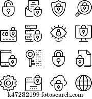 internet sicherheit, linie, heiligenbilder, set., modernes, graphischer entwurf, begriffe, einfache, aufrei?en, elemente, collection., vektor, linie, heiligenbilder