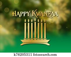 Kwanzaa holiday celebration graphic background in greens and golds