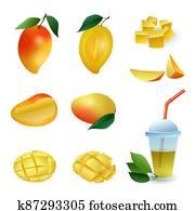 Mango icons set, cartoon style