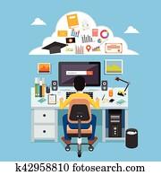 Online learning. e-learning, online education, distance learning, education, online course