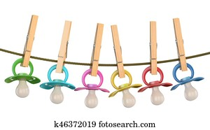 Row of babies pacifiers on rope with pins, 3D rendering