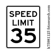 Speed limit 35 road sign in USA