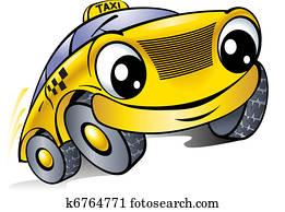 auto, mit, a, lachender, face., taxi.