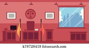 Empty courthouse or trial interior with wooden furniture flat vector illustration.