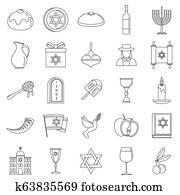 Hanukkah holiday icon set, outline style