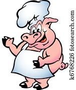 schwein, küchenchef, tragen, schuerze