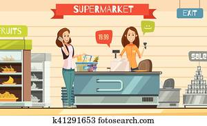 Supermarket Cashier at Register Retro Cartoon Poster