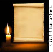 Background with old paper, candle