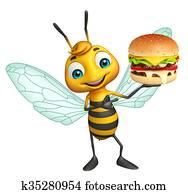 fun Bee cartoon character with burger