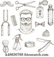 Hipster And Barber Elements Set