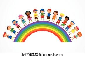 regenbogen, mit, kids,, buntes, vektor, abbildung