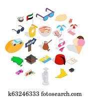 Social behavior icons set, isometric style