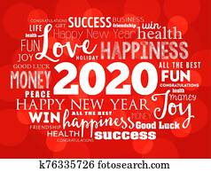 2020 year greeting word cloud collage