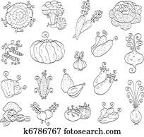 Doodle fruits, vegetables