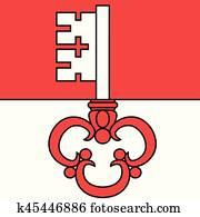 fahne, von, kanton, von, Obwalden, Switzerland., vektor, format
