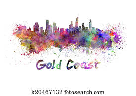 Gold Coast skyline in watercolor
