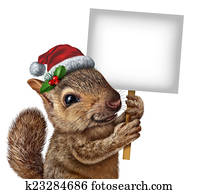 Holiday Squirrel Sign