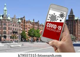 Smartphone with tracking app and covid-19 corona virus