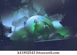 the man standing on glowing eggs with a monster inside