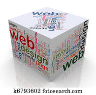 3d cube with 'Web design' tags