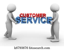 3d men holding customer service