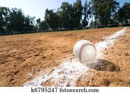 Baseball on chalk line