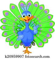 Cartoon peacock