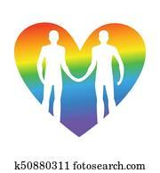 Gay love. LGBT heart. Guys hold hands. Together forever. Vector illustration