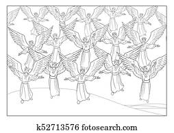 Christmas Story. The Choir of singing Angels.