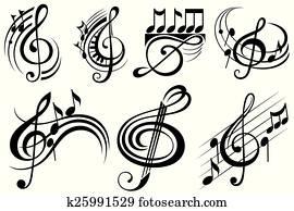 dekorativ, musik merkt