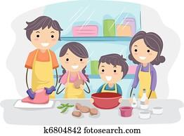 familie, küche
