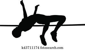 female athlete high jump