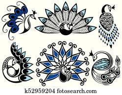 Peacock set , logo design.
