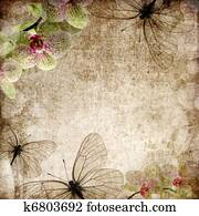vintage background with orchids