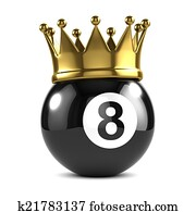 3d King 8 ball wears a gold crown